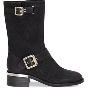 VINCE CAMUTO NEW PEBBLE LEATHER moto boots!!